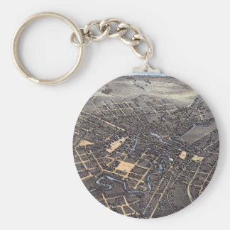 Antique Aerial City Map of San Antonio, Texas 1873 Key Ring