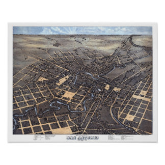 Antique Aerial City Map of San Antonio, Texas 1873 Poster