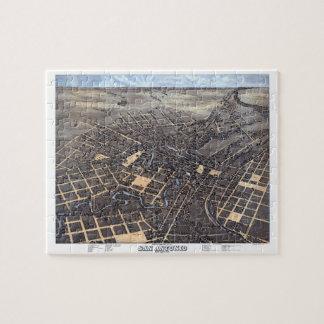 Antique Aerial City Map of San Antonio, Texas 1873 Puzzles