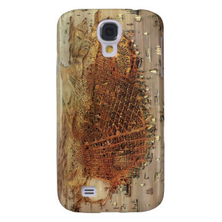 Antique Aerial Map City San Francisco, California Galaxy S4 Covers