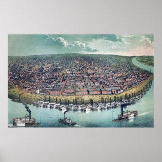 Antique Aerial Map of Saint Louis, Missouri, 1859 Poster