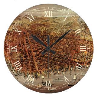Antique Aerial Map of San Francisco, California Large Clock