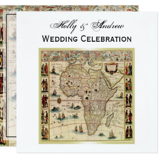 Antique Africa Map DIY Background Color SQ Wedding Card