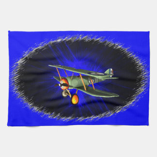 Antique airplane on blue tea towels