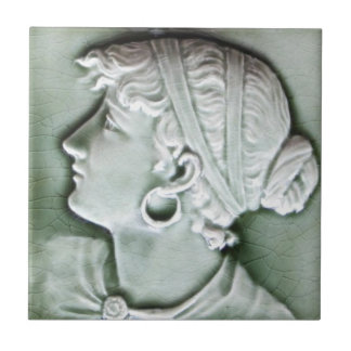 Antique American c1890 Trent Portrait Tile Repro