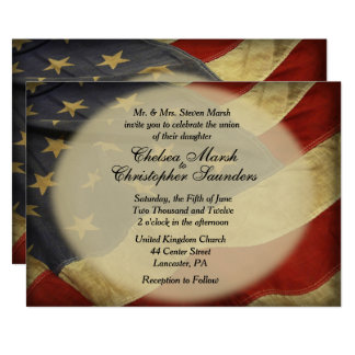 Antique American Flag Wedding Invitation