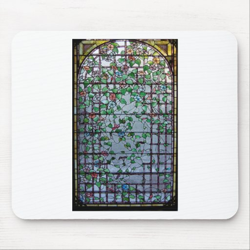 ANTIQUE AMERICAN STAINED GLASS -MORNING GLORY VINE MOUSEPADS