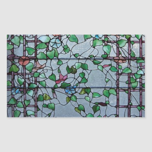 ANTIQUE AMERICAN STAINED GLASS -MORNING GLORY VINE RECTANGLE STICKERS