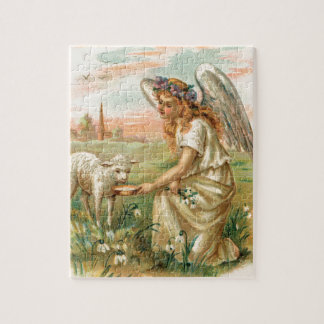 Antique Angel Feeding A Lamb Puzzles