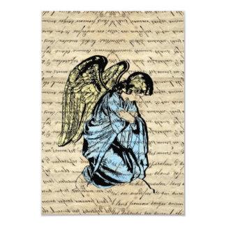 Antique angel illustration  on vintage paper 9 cm x 13 cm invitation card