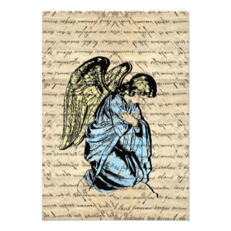 Antique angel illustration on vintage paper personalized invitation