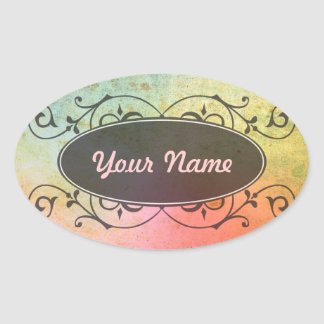 Antique ARTs Pattern for your Design Oval Stickers