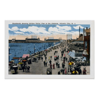 Antique Atlantic City New Jersey Boardwalk Poster