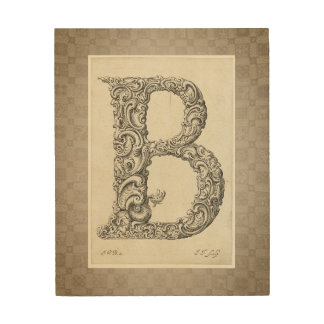 "Antique ""B"" Initial Wood Wall Art"