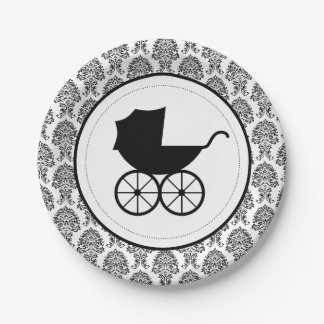 Antique Baby Carriage Elegant Damask | Baby Shower 7 Inch Paper Plate