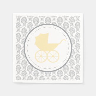 Antique Baby Carriage Elegant Damask | Baby Shower Paper Napkin