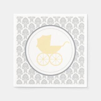 Antique Baby Carriage Elegant Damask   Baby Shower Standard Cocktail Napkin