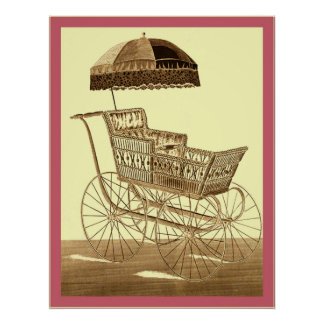 Antique Baby Carriage ~ Vintage Advertising ~ 1891 Poster