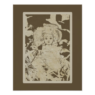Antique Baby Doll Image Earth-tones Vintage Dolls Poster
