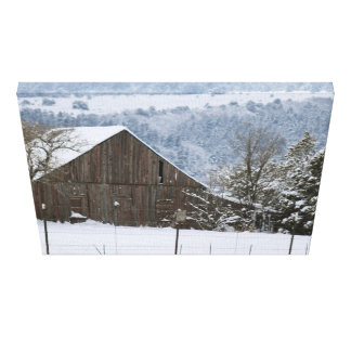 Antique Barn in Snow Wrapped Canvas Gallery Wrap Canvas