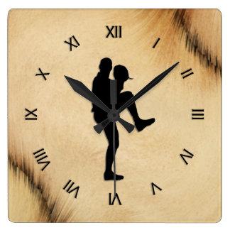 Antique Baseball Player Pitcher Roman Numerals Square Wall Clock