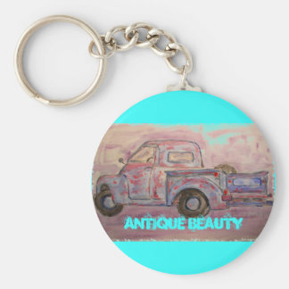antique beauty blue patina truck basic round button key ring