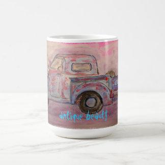 antique beauty blue patina truck basic white mug