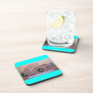 antique beauty blue patina truck beverage coasters