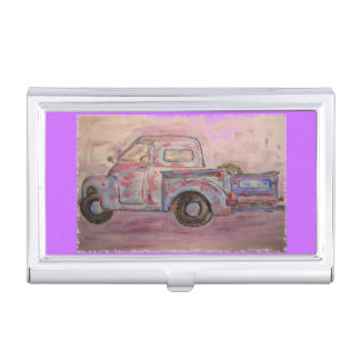 antique beauty blue patina truck case for business cards