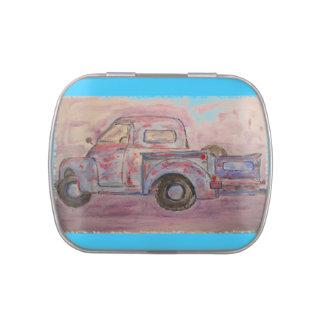 antique beauty blue patina truck candy tin