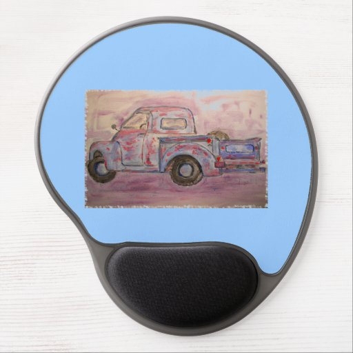 antique beauty blue patina truck gel mousepads
