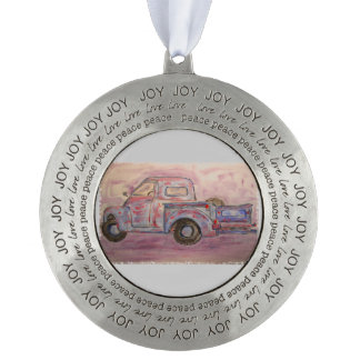 antique beauty blue patina truck round ornament