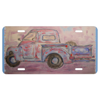 antique beauty blue patina truck license plate