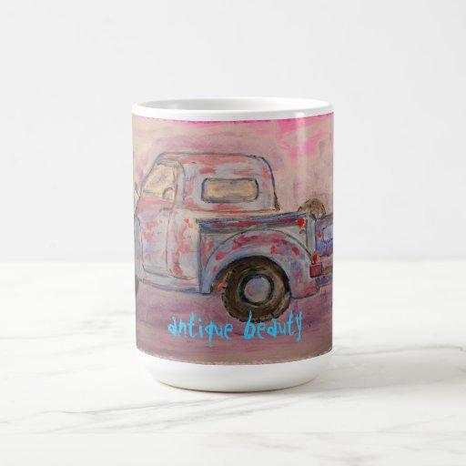 antique beauty blue patina truck coffee mug
