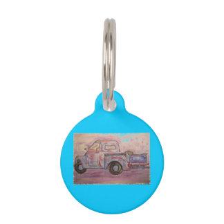 antique beauty blue patina truck pet nametags