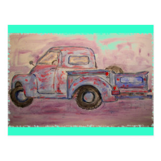 antique beauty blue patina truck postcard