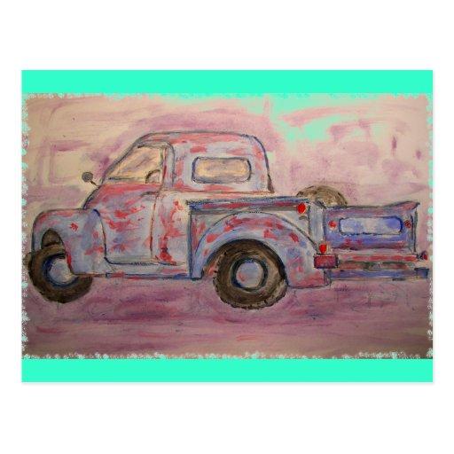 antique beauty blue patina truck post card