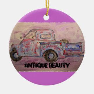 antique beauty blue patina truck round ceramic decoration