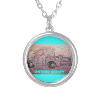 antique beauty blue patina truck round pendant necklace