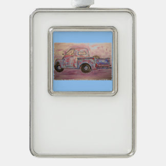 antique beauty blue patina truck silver plated framed ornament