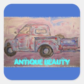 antique beauty blue patina truck square sticker