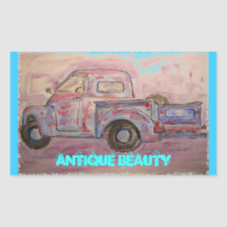 antique beauty blue patina truck stickers