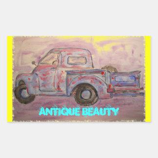 antique beauty blue patina truck rectangular sticker