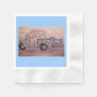antique beauty blue patina truck paper napkin