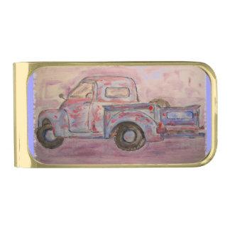 antique beauty blue patina truck money clip