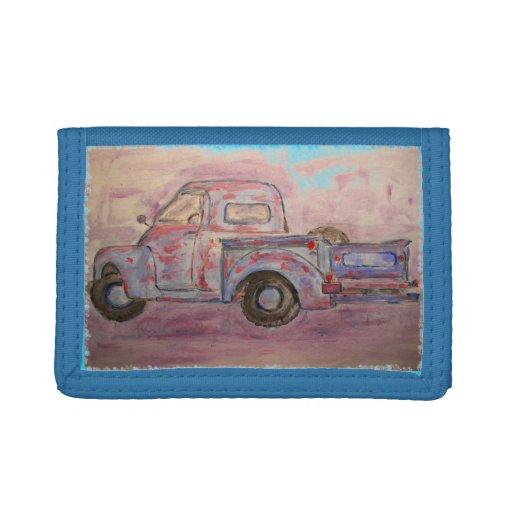 antique beauty blue patina truck tri-fold wallet