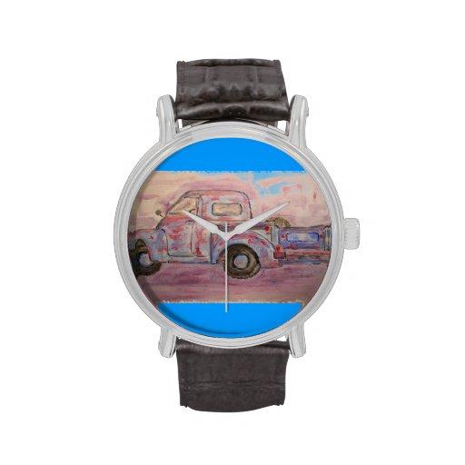antique beauty blue patina truck wristwatch