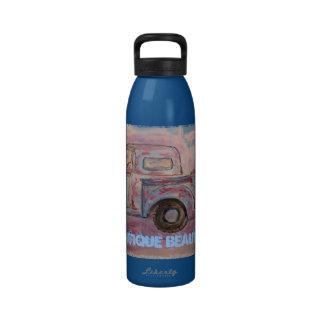 antique beauty blue patina truck drinking bottle