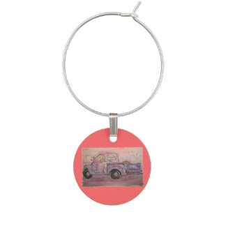 antique beauty blue patina truck wine charms