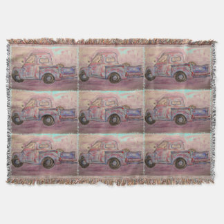 antique beauty blue patina truck throw blanket